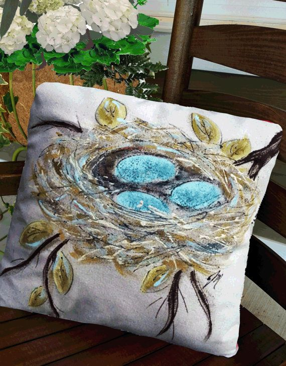 Robin's Nest Pillow Decorative Bed Pillows  by SippingIcedTea