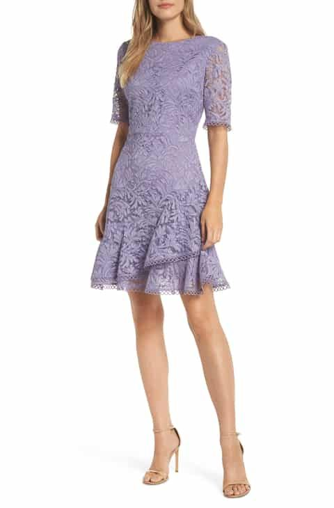 7da8006d54c4 Vince Camuto Asymmetrical Ruffle Lace Fit & Flare Dress Best Reviews ...