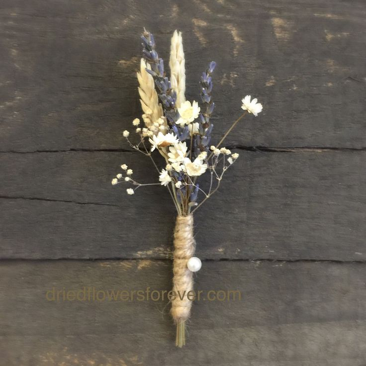 "Wheat and lavender boutonniere. Slight alterations available. Measures 5"" long. Flowers include: wheat, lavender, starflower and more."