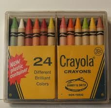 Was there any thing better than getting that new box of crayons for school?  Especially the ones in the plastic box?  or the 64 with the built in sharpener?