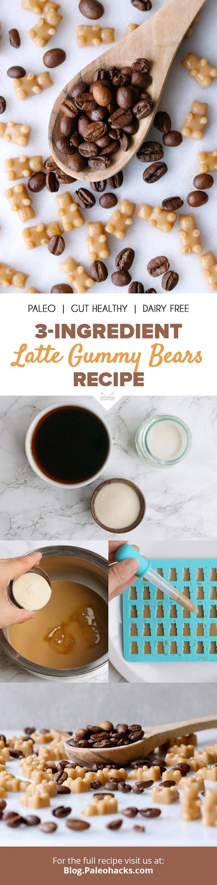 These creamy, 3-ingredient latte gummies are the perfect pick-me-up treat. Get the full recipe here: http://paleo.co/lattegummies