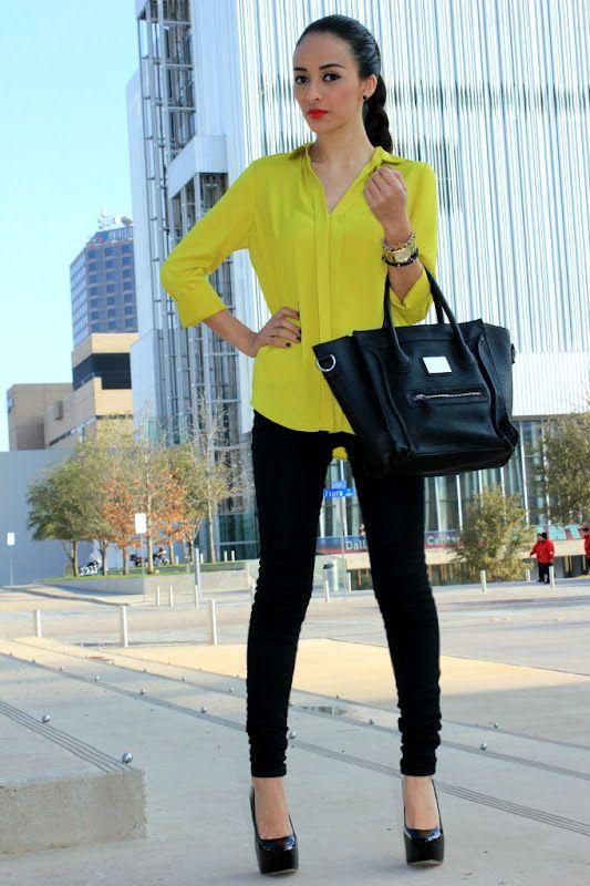 Maytedoll: Get The Same look for less: Kourtney Kardashian Neon yellow blouse & Celline bag
