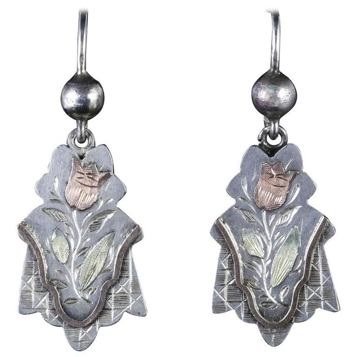 Antique Silver Victorian Silver Gold Earrings