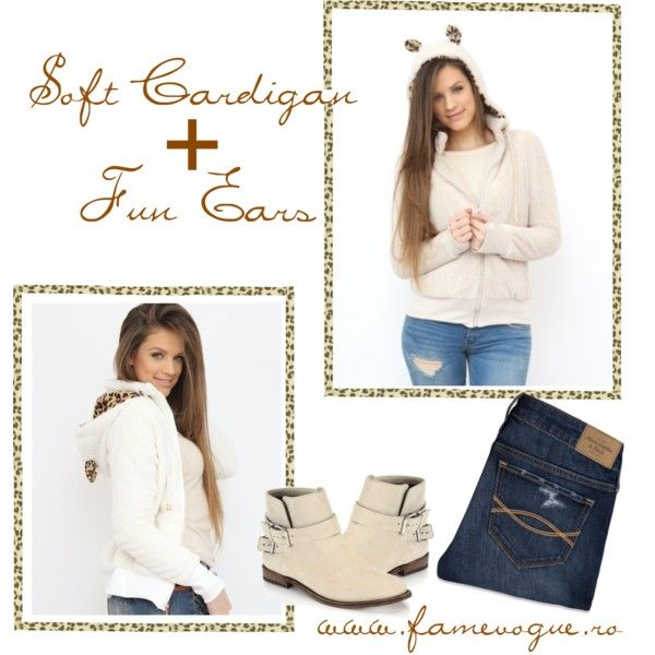 """Soft Cardigan With Ears"" by famevogue on Polyvore..check out this fun piece you can incorporate into your casual outfits....:)  #cardigan #sweater #fashion #trends #casual"