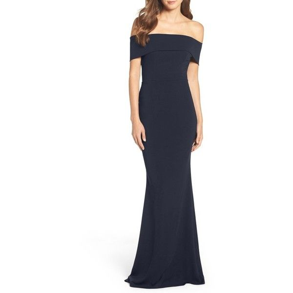 Women's Katie May Crepe Off The Shoulder Gown (1,305 MYR) ❤ liked on Polyvore featuring dresses, gowns, azaela, off the shoulder evening dress, navy blue evening gown, off the shoulder dress, navy blue gown and navy evening dress