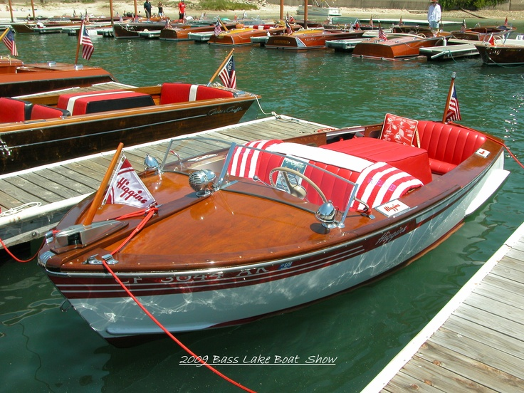 My friend Steve's boat. 1949 Higgins Sport Speedster Deluxe at the annual Bass Lake Boat Show in Cal.