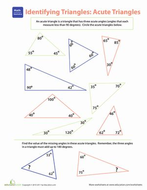 Let your fourth grader play triangle detective: can she spot the acute triangles on this worksheet?