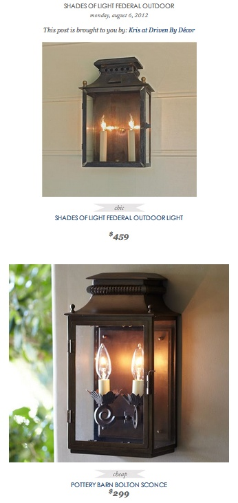 COPY CAT CHIC FIND: Shades of Light Federal Outdoor Light VS Pottery Barn Bolton SconceCopycat Finding, Copy Cat, Copycat Chic, Pottery Barn