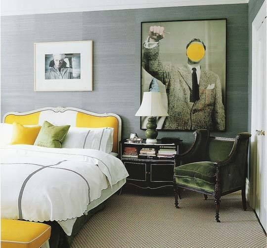 Yellow in Bed... Proof that high energy golden yellow can still create a restful vibe with the right complement of colors.  Here yellow is used sparingly to avoid overwhelming the room.