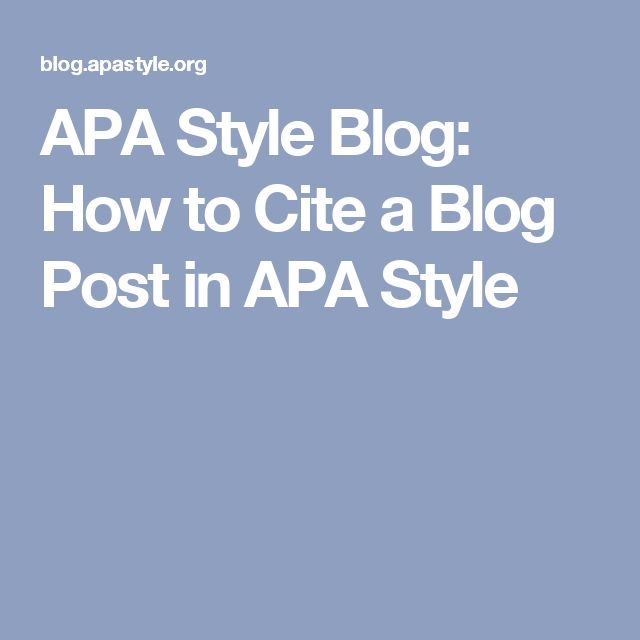 apastyle cite blog post style