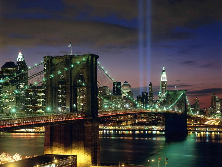 View of NYC across from Brooklyn, with lights where World Trade Center was