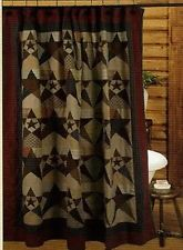 Primitive Star Quilted Shower Curtain 72 X Tea Dyed
