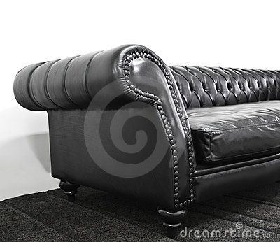 Armrest leather sofa with stainless plate