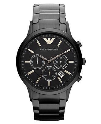 A daring unisex watch from Emporio Armani with reliable chronograph tech. | Black ion-plated stainless steel bracelet | Round case, 43mm | Black sunray chronograph dial with textured center dial | Gol