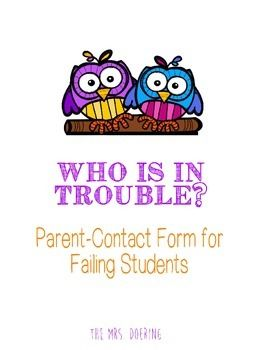 A pre-made parent contact form for failing students, including a list of suggested conversation starters for parents! A must-have for the end of the first term of the school year!