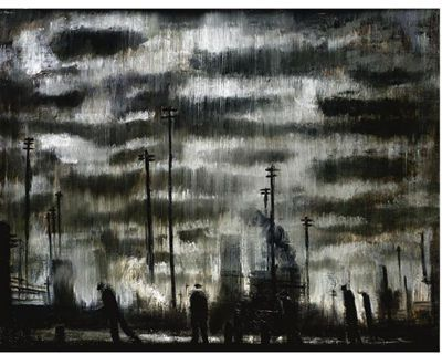 'Industrial Landscape' by English artist Theodore Major (1908-1999). Oil on board. via invaluable