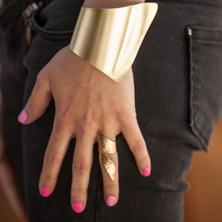 Extra wide Greek HandMade Cuff Bracelet 24karat Gold plated hammered bangle