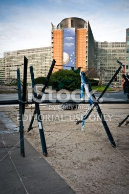 Police barricade in front of Berlaymont, European Commission headquarter Royalty Free Stock Photo