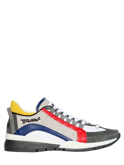 DSQUARED2 MULTICOLOR LEATHER & NYLON SNEAKERS, MULTICOLOR. #dsquared2 #shoes #sneakers