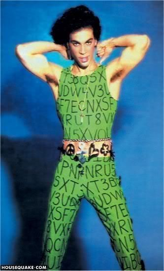 Rare Lovesexy Alphabet Street suit!  I don't think he wore this during the tour, it's very similar to the Kiss outfit, and this photo is from the same sessions by Jeff Katz that were used for the Lovesexy tourbook.