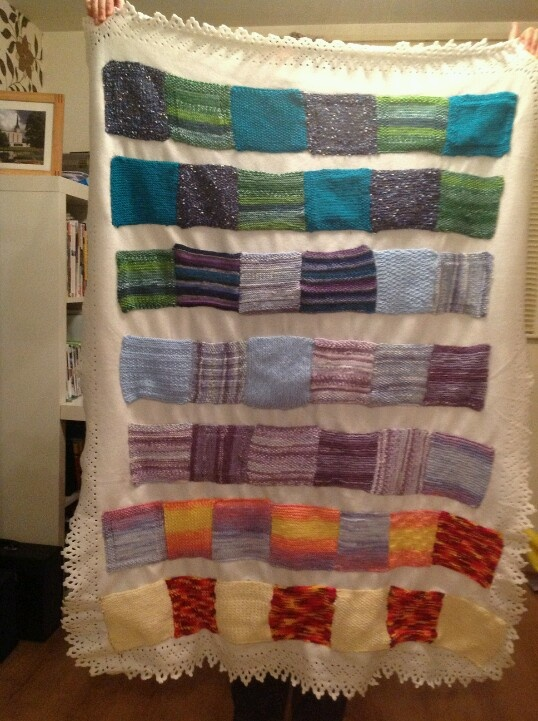 i made this striped patchwork knitted blanket for my birthday i used 4mm needles cheap fleece
