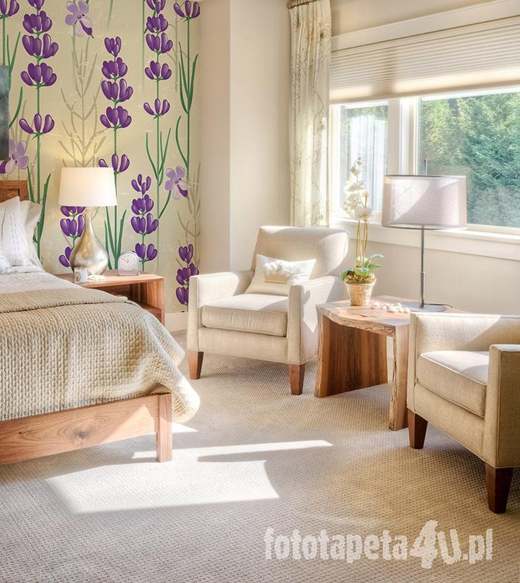 Lavender wallpaper in preovence room (by Fototapeta4u.pl)