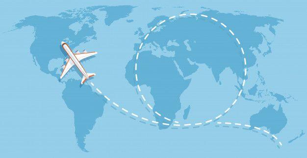 Avión Volando Por Encima Del Mapa Del Mu Premium Vector Freepik Vector Viajes Mapa Del Mundo Aviones Volando Vector
