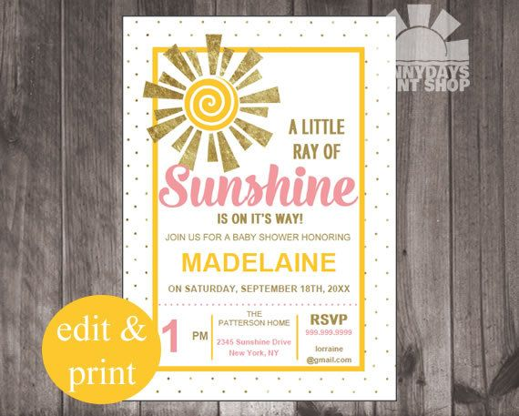 Baby Shower Little Ray of Sunshine Baby by SunnyDaysPrintShop