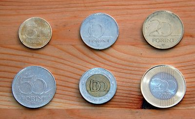 The coins of Hungary, 5, 10, 20, 50, 100 and 200 Forint (not florent or Florin) coins.