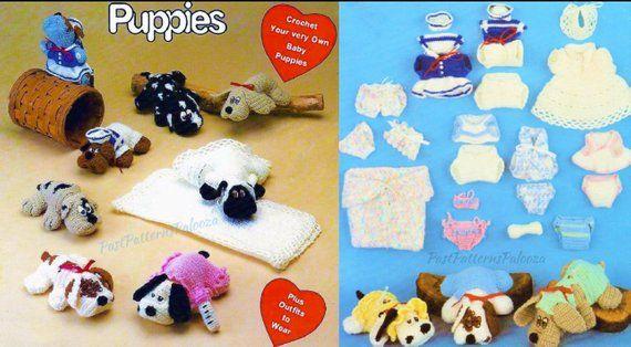 Vintage Crochet Pattern 9 Pound Puppies And Their Wardrobe Accessories Pdf Instant Digital Download Puppy Dog Amigurumi Soft Toys 4 Ply Vintage Crochet Pattern Vintage Crochet Crochet Patterns