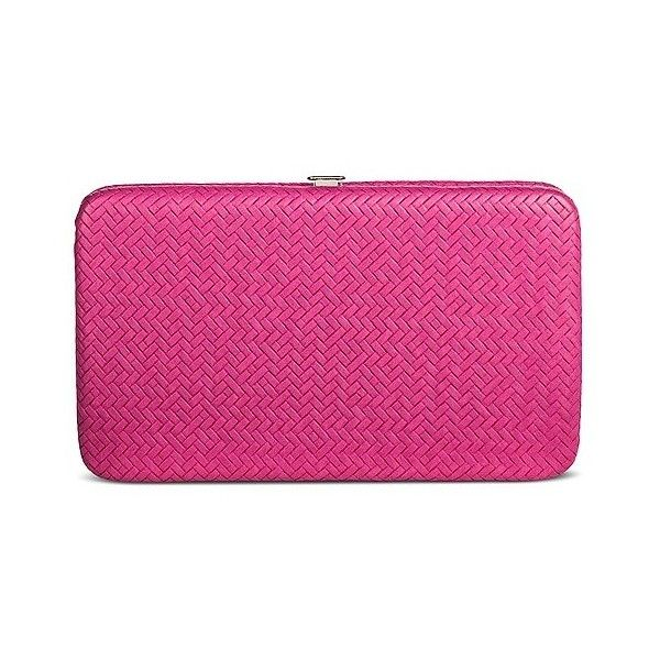 Women's Hinge Case Clutch Faux Leather Handbag Pink (£9.52) ❤ liked on Polyvore featuring bags, handbags, clutches, pink, vegan handbags, pink pouch, pink handbags, faux leather handbags and pink clutches