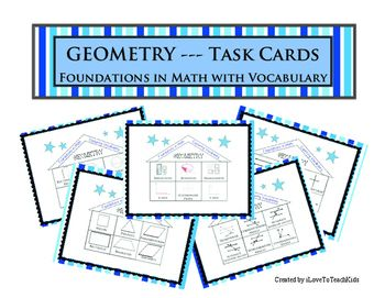 Task Cards that include 90 Geometric terms (vocabulary).  Use these for a variety of purposes to reinforce key concepts with Geometry.  Great for review and differentiation.This engaging activity for students will help review the following key vocabulary terms used in geometry.