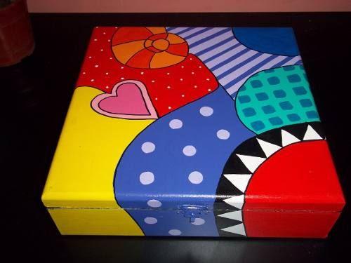 cajas de madera pintadas a mano