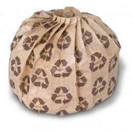 Envase para hamburguesa PLEATPAK fabricado en papel reciclado + LPDE, el color del envoltorio es color kraft con dibujos del logo reciclado. Diferentes tamaños a elegir. http://www.ilvo.es/es/product/bolsa-pleatpak-kraft--logo-reciclable