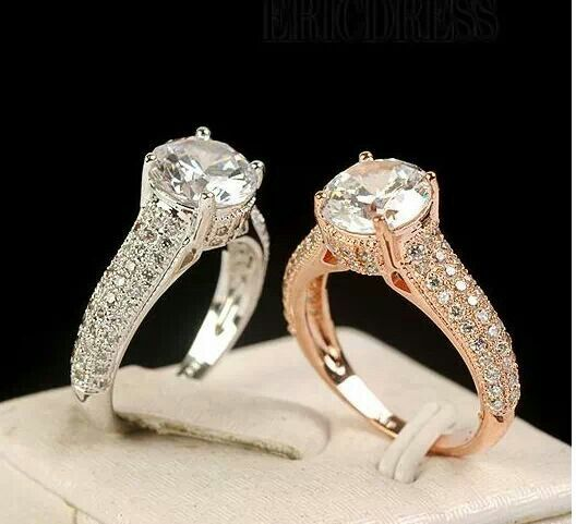 White gold/Rose gold engagement rings