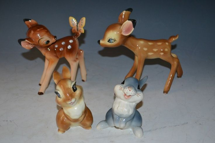 """Grouping of early Disney ceramic figures from the movie Bambie including; Bambi, Faline, Thumper, and Miss Bunny - largest standing appx 6""""H"""