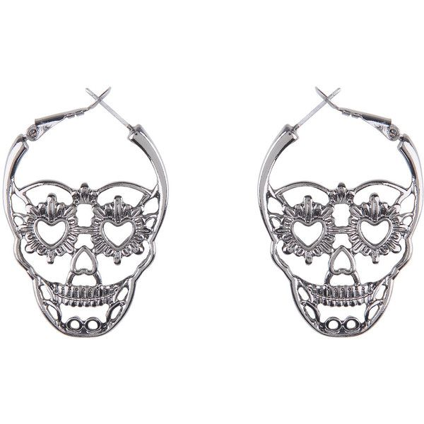 Hematite Sugar Skull Hoop Earrings Hot Topic (£23) ❤ liked on Polyvore featuring jewelry, earrings, skull hoop earrings, skull jewellery, hematite earrings, earring jewelry and hoop earri