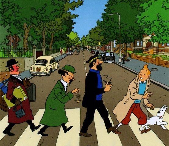 Tin Tin et ses copains (et Milou) marche à Abbey Road. Tin Tin, c'est une personnage très populaire.