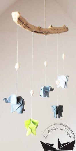 Mobile éléphants et étoiles origami - Anis