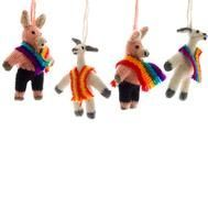 Alpaca Animal Ornaments : Pig and llama ornaments are outfitted in brightly colored traditional Peruvian ponchos and are hand-knit using eco friendly alpaca wool.