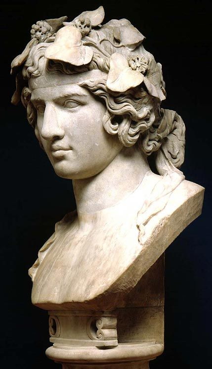 Antinous, beloved of Hadrian portrayed here as the reborn god Dionysus. ca, 130-138 AD. Tiviloi Italy.