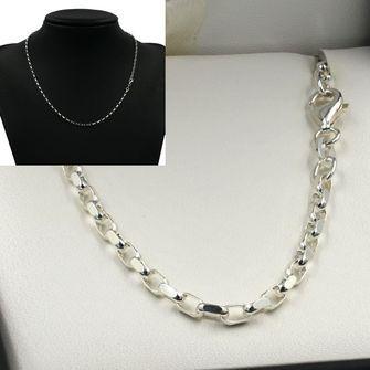 50cm Sterling Silver DC Oval Belcher Chain Necklace - SN-BO2D