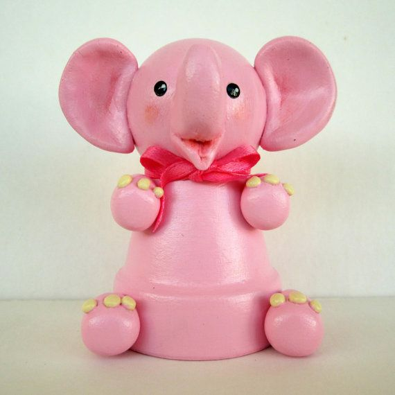 Pink Elephant Flowerpot Bell Ornament by sanquicreations on Etsy, $8.99