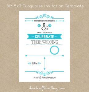 DIY Turquoise Wedding Invitation Template {digital download} $5 | ahandcraftedwedding.com #invitations #turquoise #DIY