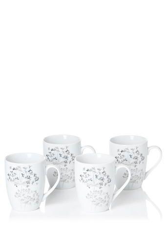 White Allium 4piece Mug Set