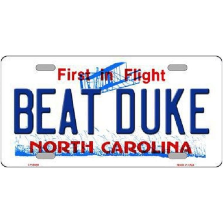 north carolina decorative license plates | ASB Beat Duke North Carolina Novelty Metal License Plate - Pricefalls ...