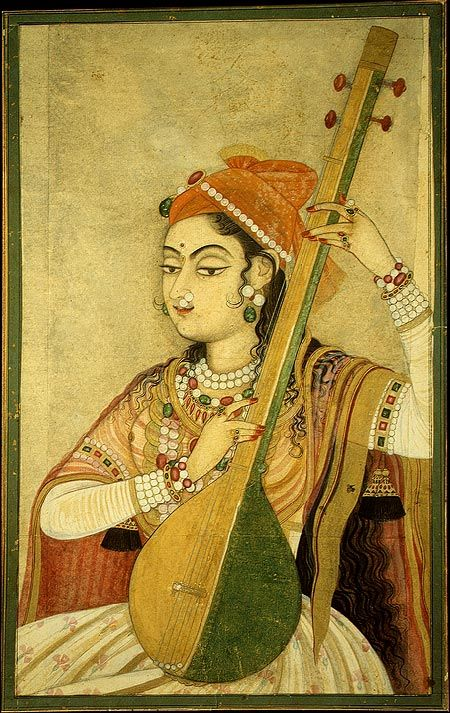 18th century Kishangarh painting --- A Lady playing the 'Tanpura' (a type of musical instrument).