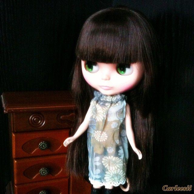Carleesi - handsewn see-through summer dress for a Blythe doll