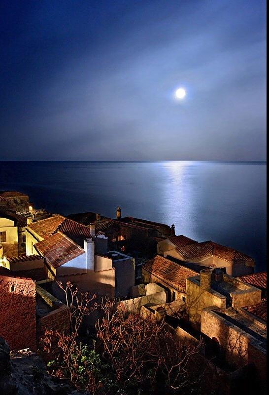 Monemvasia, Greece  Romantic moon.