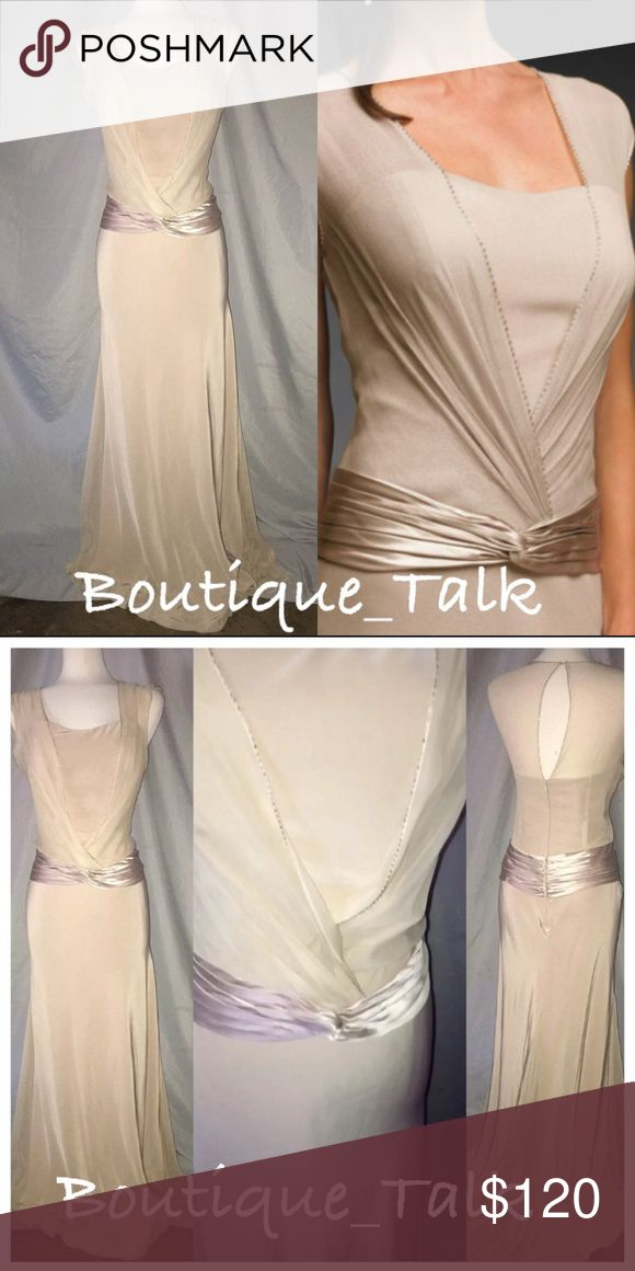 Long Beige Formal Gown *BRAND NEW, NEVER WORN* Size:12 Color:Beige Original Price: $$450This is an amazing v neck chiffon fabric with a bit of a sweat heart neckline.. This is a perfect fitted gown for any special occasion!! #beige#Champagne#formaldress#formalgown#anyspecialoccasion#newdresses#useddresses#alldryedcleaned#amazingfit#beprettyinshadeofpurple#promdresses#promgowns Dresses Prom